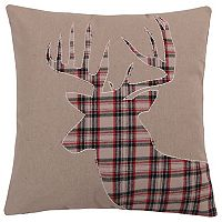 Levtex Lodge Plaid Deer Faux Fur Trim Throw Pillow