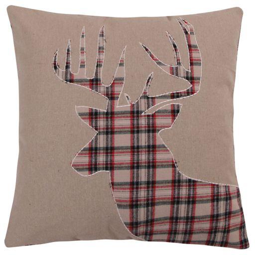 Levtex Lodge Plaid Deer Faux Fur Trim Throw Pillow