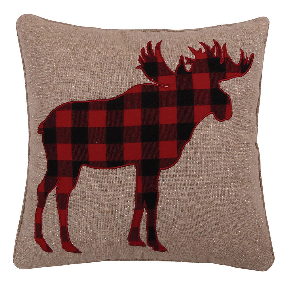 Levtex Home Lodge Red Plaid Moose Throw Pillow