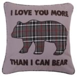 Levtex Lodge ''I Love You More'' Plaid Bear Throw Pillow