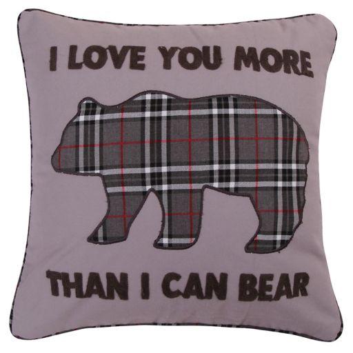 Levtex Lodge ''I Love You More'' Plaid Bear Throw Pillow