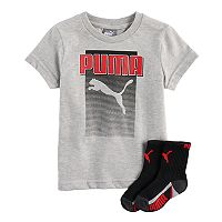 Toddler Boy PUMA Gray Graphic Tee & Socks Set