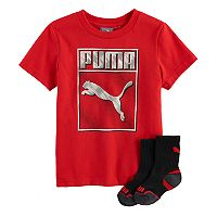 Toddler Boy PUMA Red Graphic Tee & Socks Set