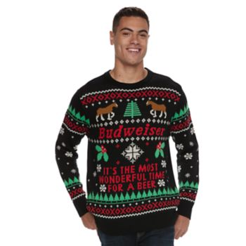 Mens Budweiser Ugly Christmas Sweater