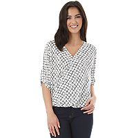 Juniors' IZ Byer High-Low Roll-Tab Wrap Top