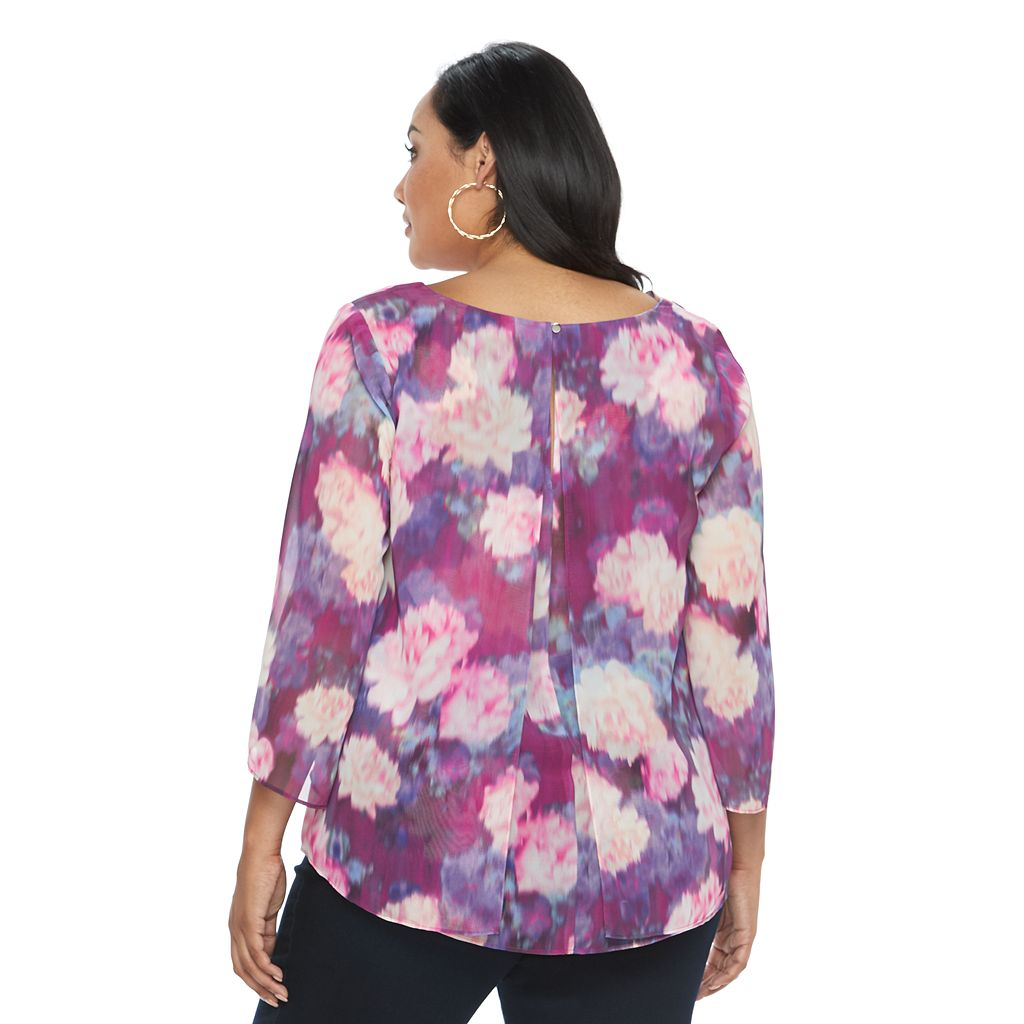 Plus Size Jennifer Lopez Printed Ruffled Blouse