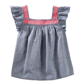 Girls 4-14 OshKosh B'gosh® Flutter Sleeve Chambray Top