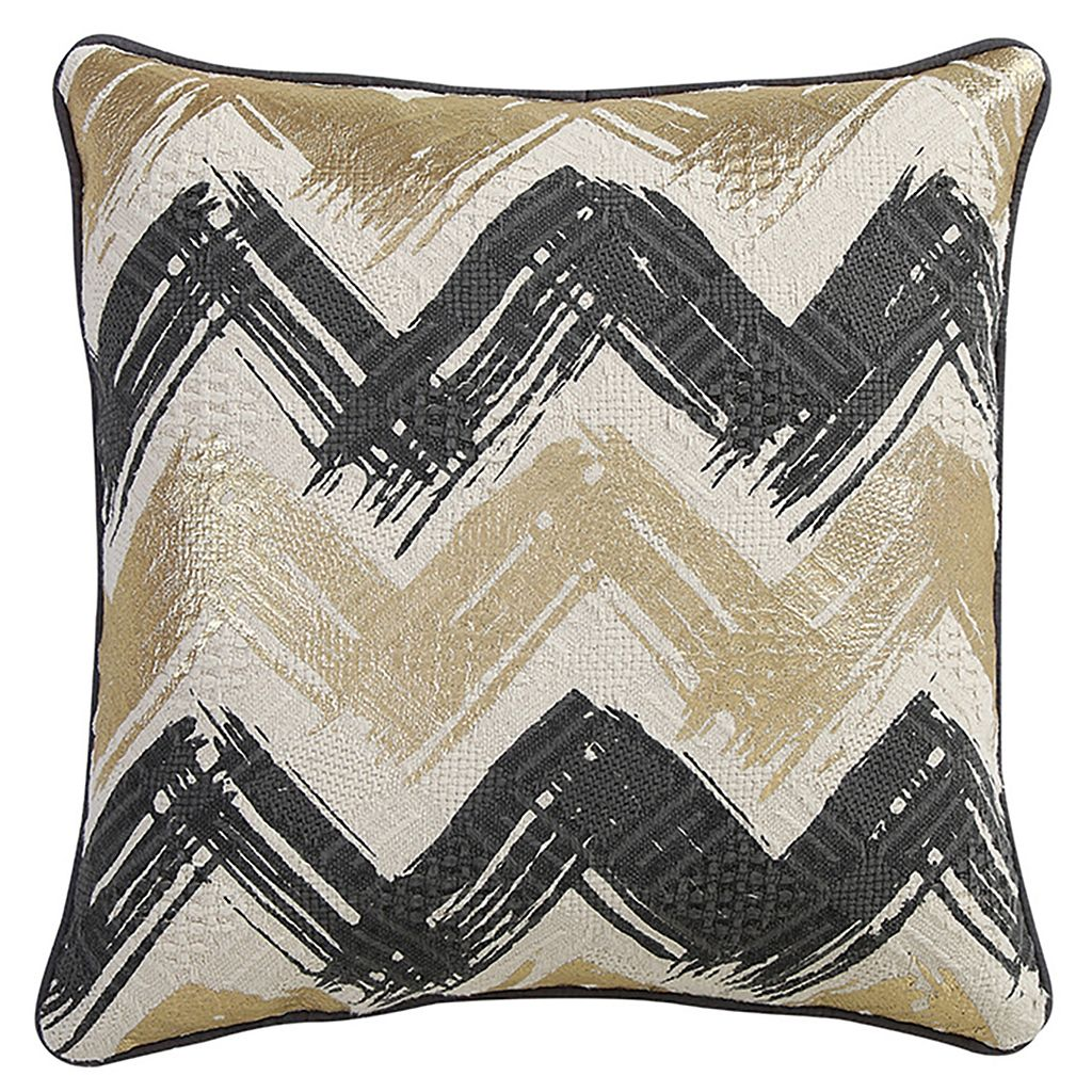 VCNY Chevron Gold Tone Foiled Throw Pillow