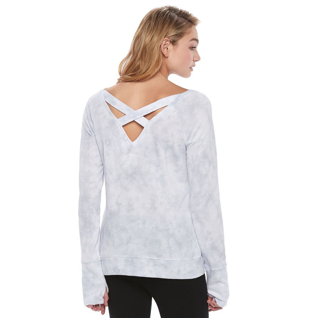 Juniors' SO® Perfectly Soft Cross Back Sweatshirt