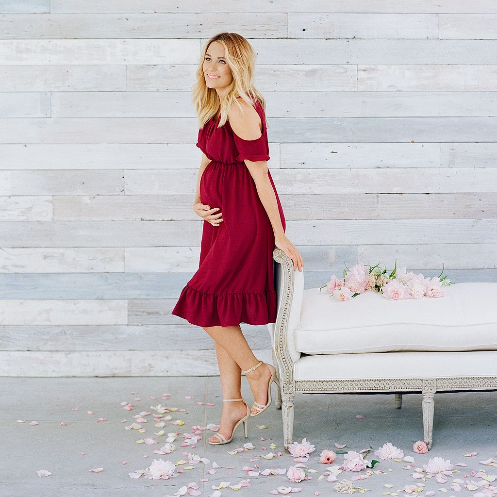 Maternity LC Lauren Conrad Cold-Shoulder Pleated Dress