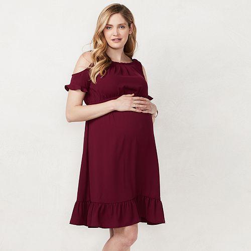 Maternity LC Lauren Conrad Cold-Shoulder Pleated Dress