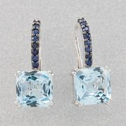 14k White Gold Blue Topaz and Blue Sapphire Drop Earrings