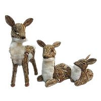 St. Nicholas Square® Faux-Fur Deer Floor Decor 3-piece Set