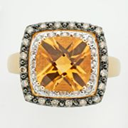 14k Gold Citrine and Diamond Accent Ring