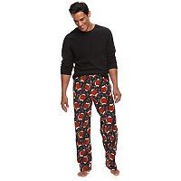 Men's Croft & Barrow® Solid Tee & Plaid Microfleece Lounge Pants Set