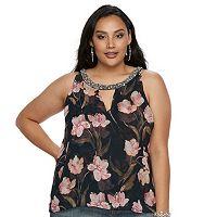 Plus Size Jennifer Lopez Floral Embellished Tank