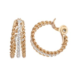 Napier Two Tone Twisted Clip On Hoop Earrings