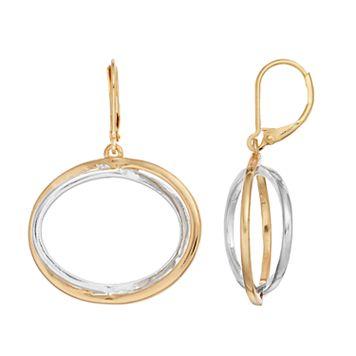 Napier Two Tone Oval Drop Earrings