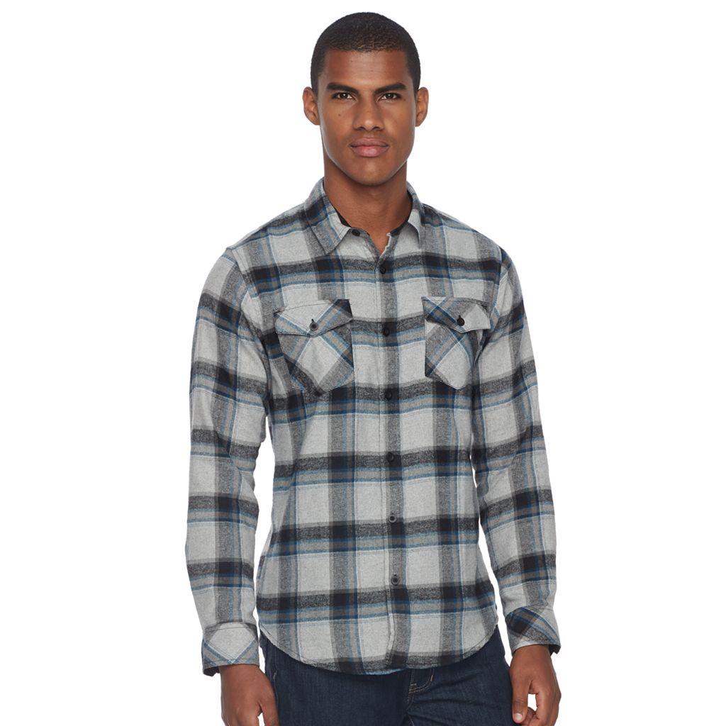 Men's Burnside Plaid Flannel Button-Down Shirt