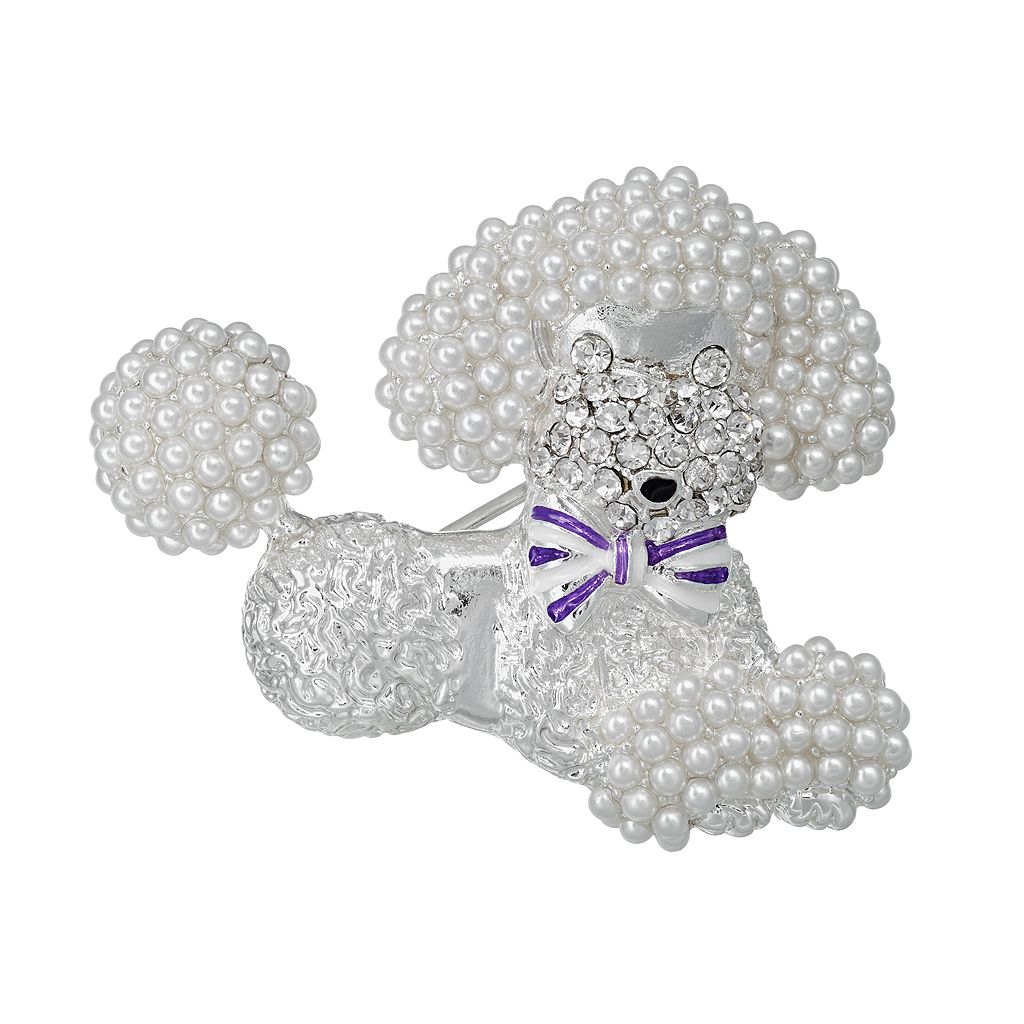 Napier Simulated Pearl Poodle Pin