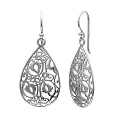 PRIMROSE Sterling Silver Filigree Teardrop Earrings