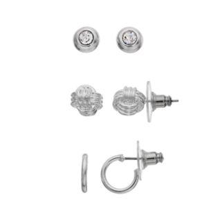 Napier Nickel Free Knot Stud & Hoop Earring Set