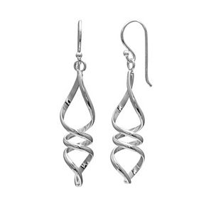 PRIMROSE Sterling Silver Twist Drop Earrings