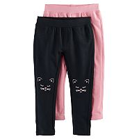 Toddler Girl Freestyle Revolution 2-pk. Cat Graphic & Solid Leggings