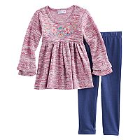 Toddler Girl Freestyle Revolution Hatchi Embroidered Glitter Shirred Top & Leggings Set