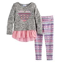 Toddler Girl Freestyle Revolution Sequined Heart Skirted Top & Printed Leggings Set