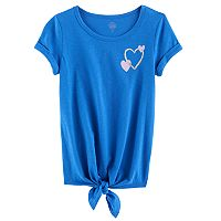 Girls 7-16 & Plus Size SO® Rolled Cuff Tie Front Tee