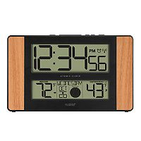 La Crosse Technology Atomic Digital Wall Clock with Wood Side Panels