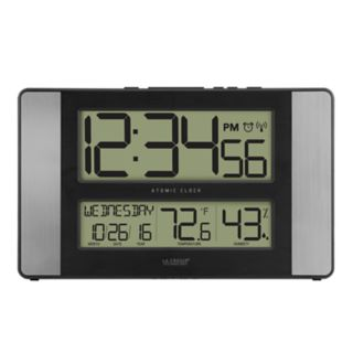 La Crosse Technology Atomic Digital Wall Clock with Indoor Temperature & Humidity