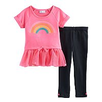 Toddler Girl Freestyle Revolution Rainbow Skirted Top & Pom Pom Leggings Set