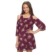 Juniors' Lily Rose Floral Cold Shoulder Shift Dress
