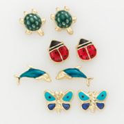 10k Gold Ladybug, Butterfly, Turtle and Dolphin Stud Earring Set - Kids