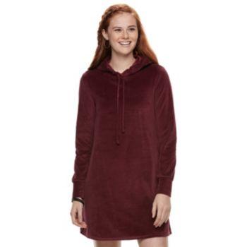 Juniors' Love, Fire Hooded Velour Dress