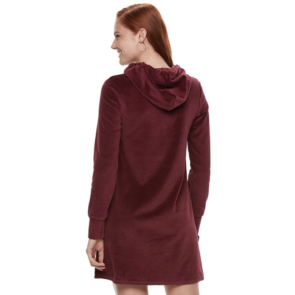 Juniors' Love, Fire Hooded Velour Dress
