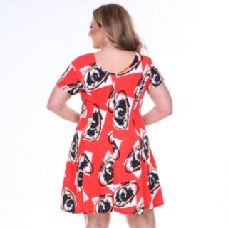Plus Size White Mark Floral Fit & Flare Dress
