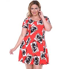 f33816efb3e Womens Plus Fit And Flare Short Sleeve Dresses