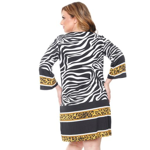 Plus Size White Mark Printed Shift Dress