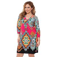Plus Size White Mark Printed Shift Dress