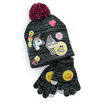 Girls 4-16 Emoji Hat & Gloves Set