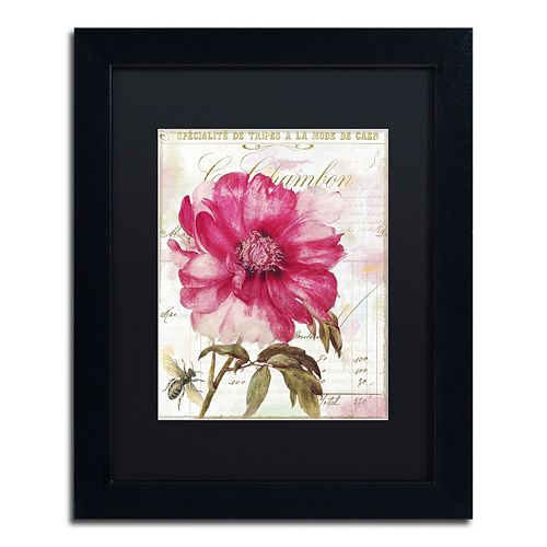 Trademark Fine Art Pink Peony Black Framed Wall Art