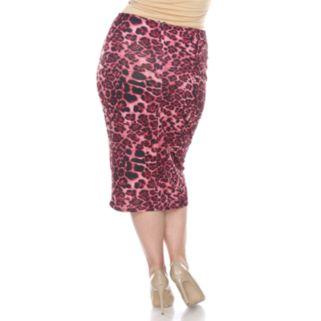 Plus Size White Mark Print Pencil Skirt