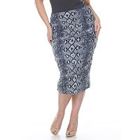 Plus Size White Mark Print Pencil Skirt