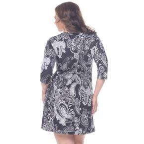 Plus Size White Mark Printed Faux-Wrap Dress