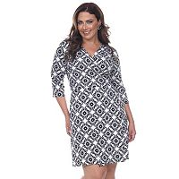 Plus Size White Mark Printed Faux-Wrap Dress