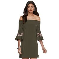 Women's Jennifer Lopez Off-the-Shoulder Embroidered Shift Dress