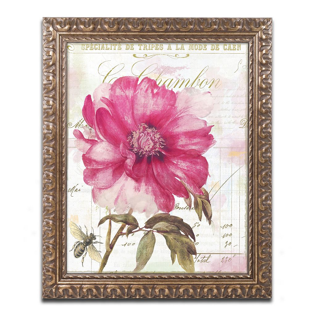 Trademark Fine Art Pink Peony Ornate Framed Wall Art